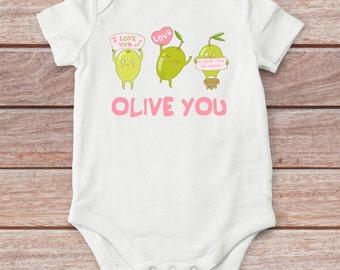Olive baby girl bodysuit, cute baby girl clothes, love girl bodysuit, baby girl outfit, baby shower gift, baby girl gift, girl shirt
