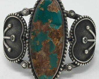 Native American Handmade Navajo Stering Silver Natural Royston Turquoise Cuff Bracelet