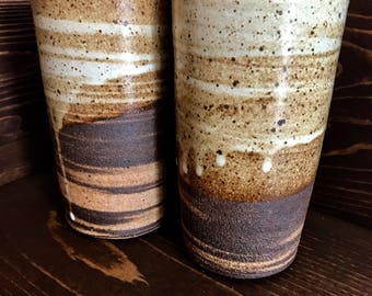 Handmade High Fired Marbled Clay Ceramic Tumblers, Woodgrain White & Brown Ceramic Cups, Farmhouse Rustic Pottery, Christmas Gift