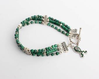 Cerebral Palsy Awareness Bracelet - 3 Strands of Malachite (?) Beads