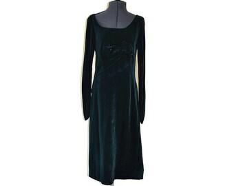Frank Usher Dress 1950's Green Velvet Dress // Vintage Wiggle Dress // Size M