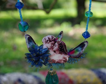 """Retro chic """"blue like an Angel"""" long beads and ribbons"""
