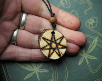 Wild English Rose Wood Fairy Star Pendant - Love - The Fey - Pagan, Witchcraft, Septagram, Elven Star, Faery Star, Seven-Pointed