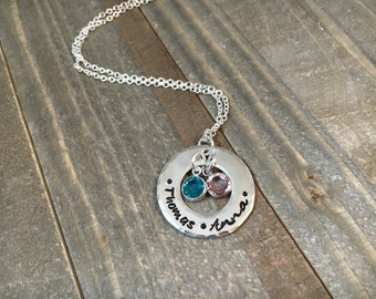 Custom Hand Stamped Mother's Necklace with Birthstones. Name Stamped Jewelry, Solid Sterling Silver Chain, Customize for a Unique Gift!