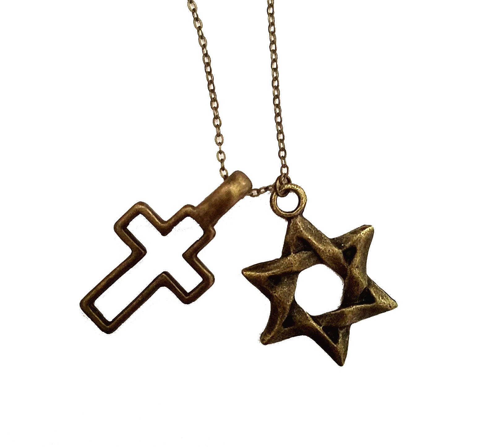 Interfaith star of david cross necklace judeo christian zoom biocorpaavc Images