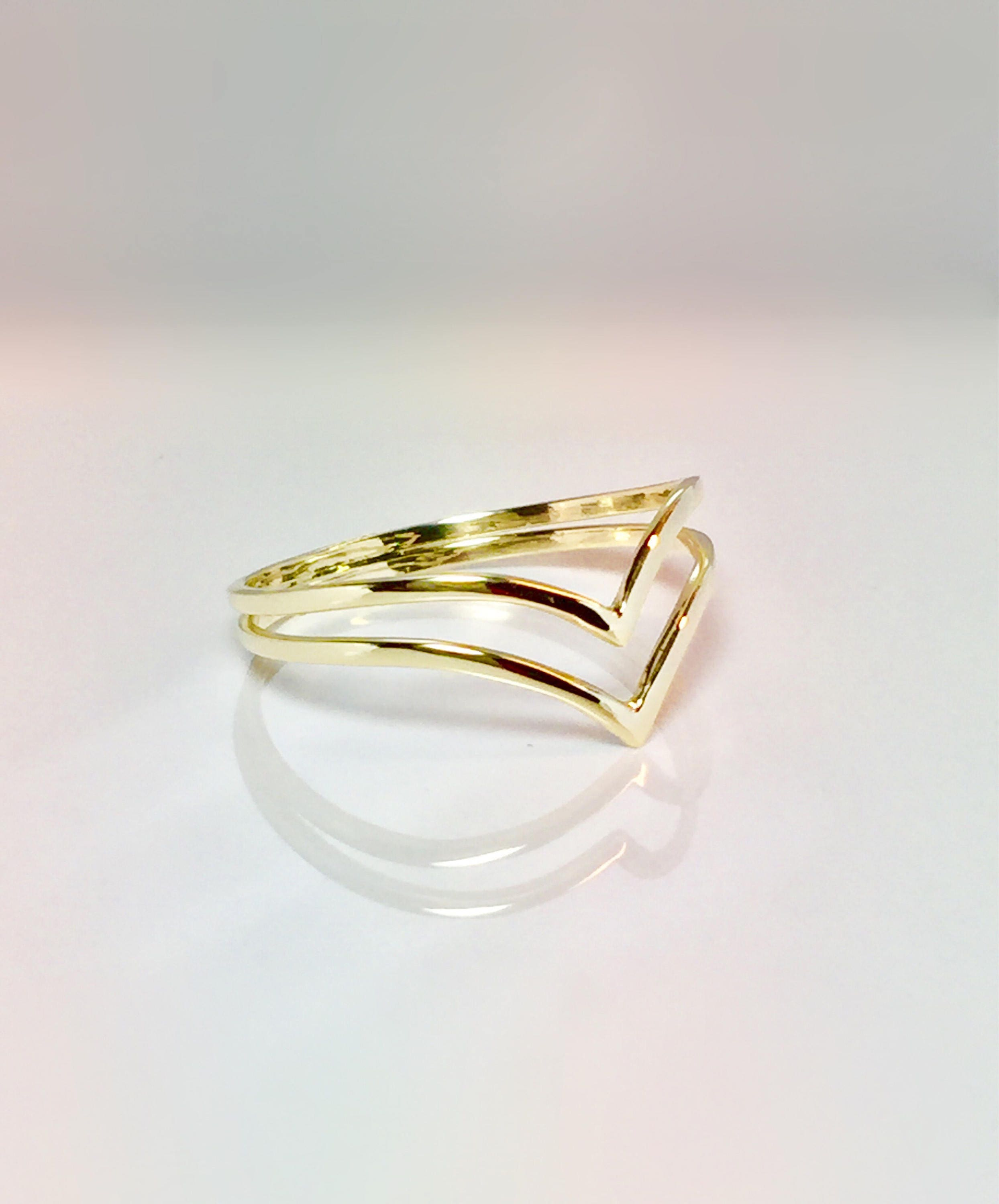 14k 10k Gold Ladies Double V Chevron Ring Gold Pinky Ring