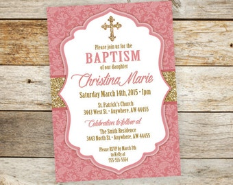 Laser cut baptism invitation baptism invitation christening baptism invitation girl communion invitation girl christening invitation cross invitation gold glitter religious printable stopboris Images