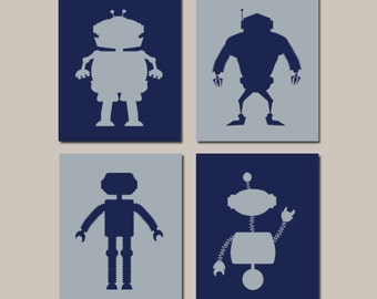Robot Nursery Art, Robot Nursery Decor, Robot Art Prints, Boy Nursery Decor, Robot Wall Art, Robot Bathroom Set of 4 Prints Or Canvas