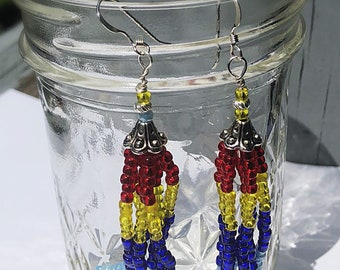 Autism awareness earrings, Beaded Tassle Earrings
