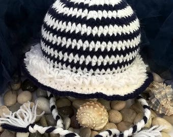 Crochet pattern - Navy Winter Baby girl or boy hat crochet pattern! Beanie crochet pattern. Permission to sell finished items. Pattern #226