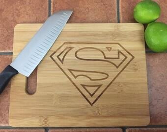 Superman Cutting Board, Superhero Cutting Board Gift for Dad, Gift for Boyfriend, Superhero Lover