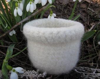 Handmade White Felted Homespun Wool Bowl for sale