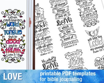 LOVE - Bible journaling printable templates, illustrated christian faith bookmarks, black and white bible verse prayer journal download art