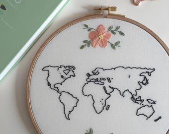 World Embroidery Hoop Art