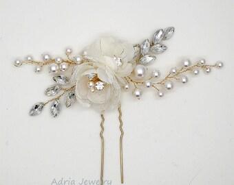 Flower Hair Clips, Gold Wedding Hair Pins  Silk Flower Bridal Headpieces, Rhinestone Pearls Wedding Hair Pieces,Gold Bridal Hairpins 1601231