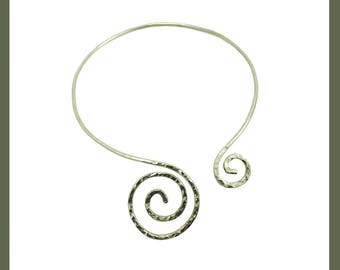 Silver Collar Necklace, Wire Wrap Jewelry, Spiral Jewelry, Egyptian Jewelry, Egyptian Collar, Hand Made, Hand Hammered, Jewelry Making