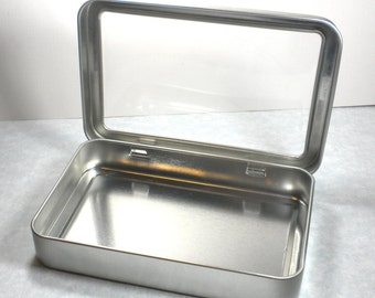 Rectangular Window Tins - Extra Large Hinged - Use for your Pendants Magnets and other Gifts Favors and Goodies or Storage - Just 1