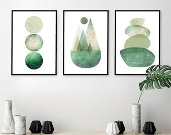 Gallery wall printables, Downloadable Wall prints, Scandinavian set of 3 green, Set of 3 prints, Wall prints set, Gallery wall set green