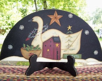 Door Crown/ Shelf Sitter-Primitive Saltbox House-Swan- Winter-Home Decor Christmas Wal Art