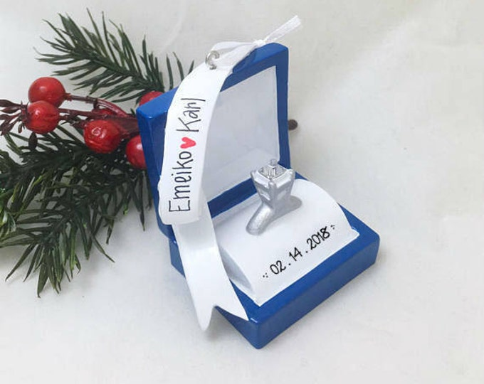 Featured listing image: Engagement Ring Personalized Christmas Ornament / Engagement Ornament / Engaged / Gift for Her / She said yes