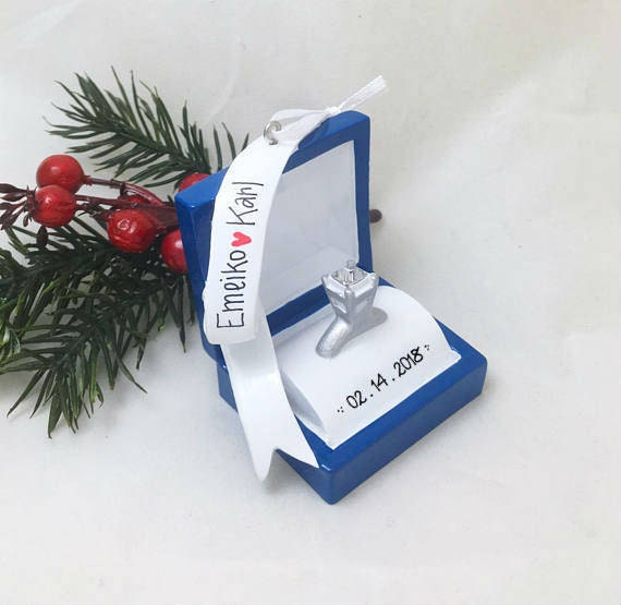 Engagement Ring Personalized Christmas Ornament / Engagement