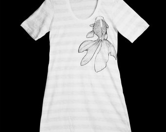 Ash Grey, White Stripe, Kingyo, Goldfish, T-Shirt Dress, Screen Printed, Crew Neck, Women - Gifts for Her, Limited Stock, Hand Printed