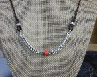 Coral and Sterling Silver Necklace - Silver Queens Chain Chainmail Accents - Coral Bead - Salmon Bead Necklace - Sterling Silver and Salmon
