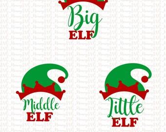 Big Elf Middle Elf Little Elf SVG, Cut File, Cricut File, Silhouette SVG
