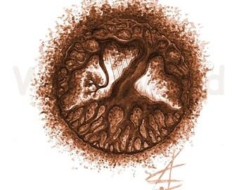 Kunstdruck einer Aquarellzeichnung  - Tree of Life... and a Harp! (21 x 30 cm), rot-braune Farb-Variante