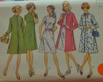 "Vintage 1970s Simplicity 9157 Sewing Pattern Dress and Coat Pattern Size 20 Bust 42"" UNCUT 2 Piece Dress"