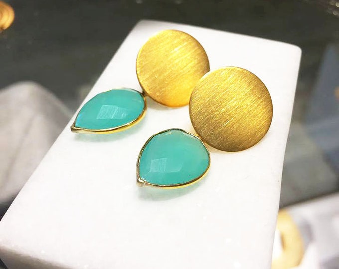 Aqua Chalcedony Stone Earrings