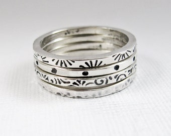 Sterling Silver Stacker Rings - Patterned