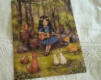 Fabric sticker 19 X 24 cm / sew or glue / girl illustration