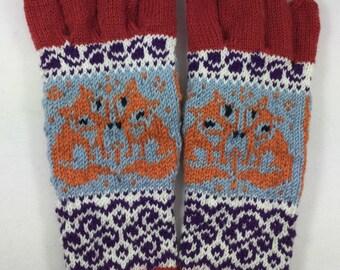 Fox gloves, handknitted gloves, fox handknit gloves, fox mittens, wool gloves, fairisle gloves ,stranded gloves, blue gloves, winter gloves,