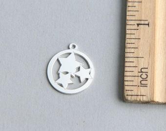 SALE, Star charm, 3 stars charm, Christmas charm, 925 Sterling Silver Charm, Tiny Sterling Silver Star Charm, Star Pendant, 15mm ( 1 piece )