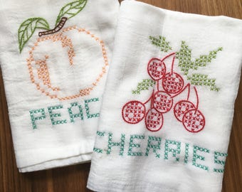 Cross Stitch Fruut Hand Embroidered  Dish Towels - Cherries/Peach