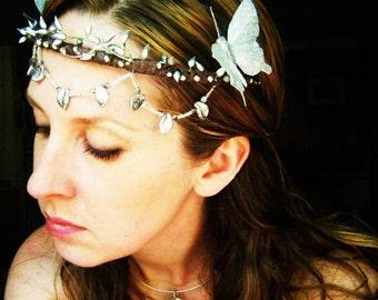 Silver Butterfly Bridal Headpiece Crown-Wear it Four Ways.