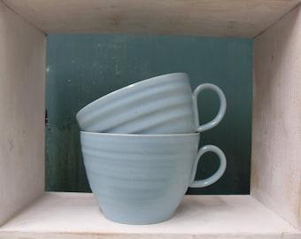 2x Large Teacup Shaped Handmade Pottery Mugs in Turquoise Blue celadon glazes