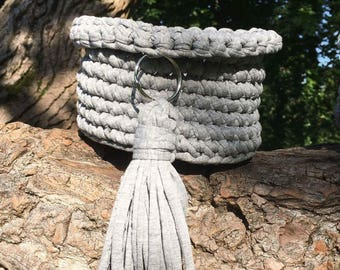 Croched grey basket