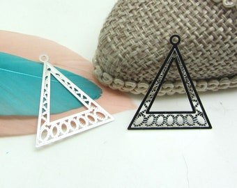 2 Triangle, silver filigree charms, 20 * 24 mm