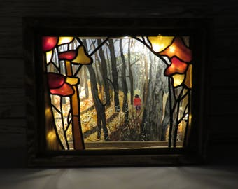 Stained Glass lightbox, art, shadow box Forest Diorama with Lights