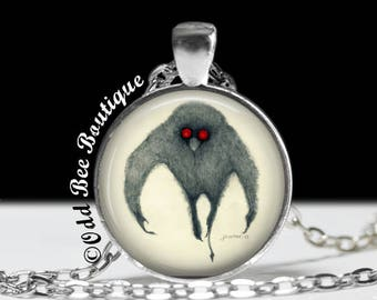 "Cryptids Series-Mothman Necklace-Hand Drawn Image-Cryptid Cryptozoology Creepy Gothic Monster-1"" Silver & Glass Pendant"