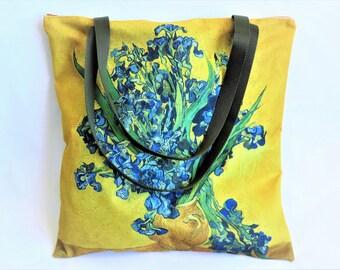 Tote, sac doublé, zipé, Van Gogh, bouquet d'iris