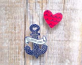 Anchor Brooch,Anchor Jewelry,Nautical Jewelry,heart brooch Pin,Nautical Anchor,navy accessories,bridal shower,gift for her,gift for him,