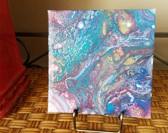 "6"" x 6"" acrylic pour painting"