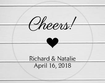 Cheers Stickers, Clear Transparent Alcohol Wedding Favor Labels, Customizable Wedding Stickers (#064-C)