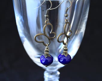 Antique bronze Butterfly earrings