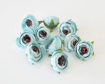 Peonies mini, artificial flowers, silk ranunculus, silk flowers, turquoise peonies, faux, 1.6'' or 4cm diameter flowers. Set of 10 pcs