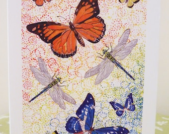 Dragonfly Card Butterfly Card Monarch Butterfly Card Amazon Blue Butterfly Card  - Abstract Butterfly and Dragonfly design card. Frameable