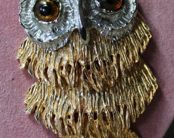 Vintage, Gold and Silver Owl Necklace/Beautiful Owl Necklace/Statement Owl Necklace/Birthday/